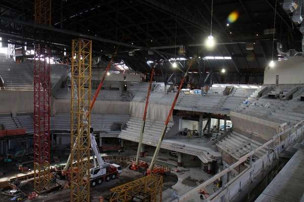 View from upper seating area looking to main