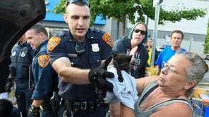 Suffolk County police rescued a kitten nestled in