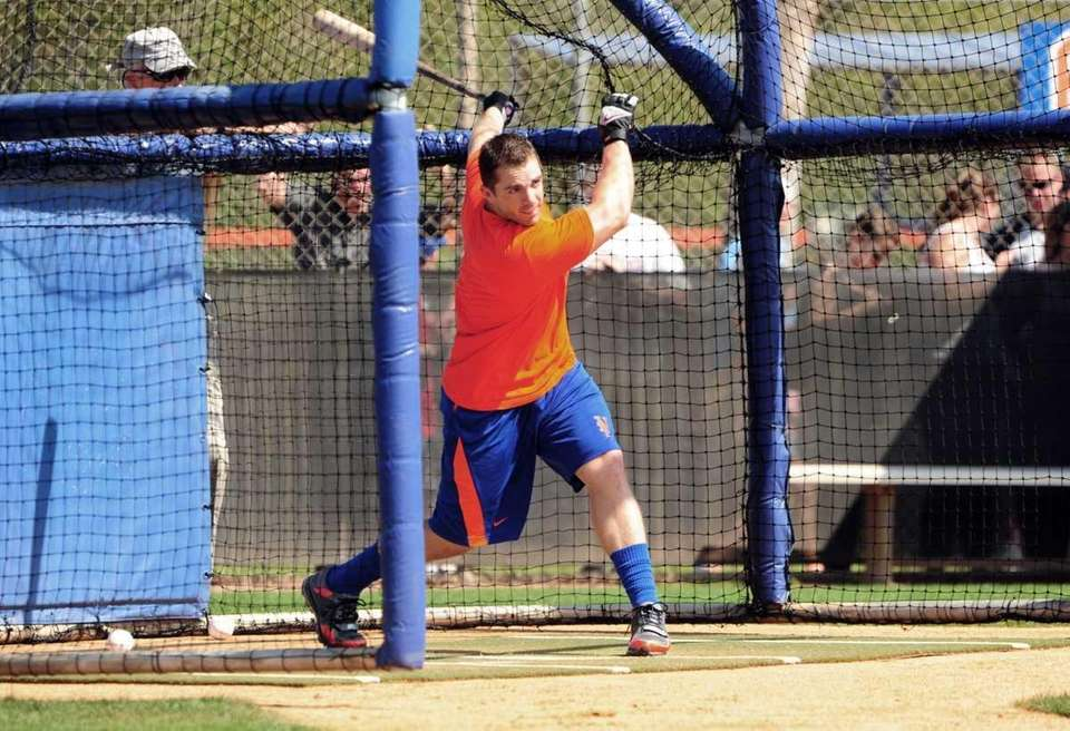 David Wright during batting practice in Port St.