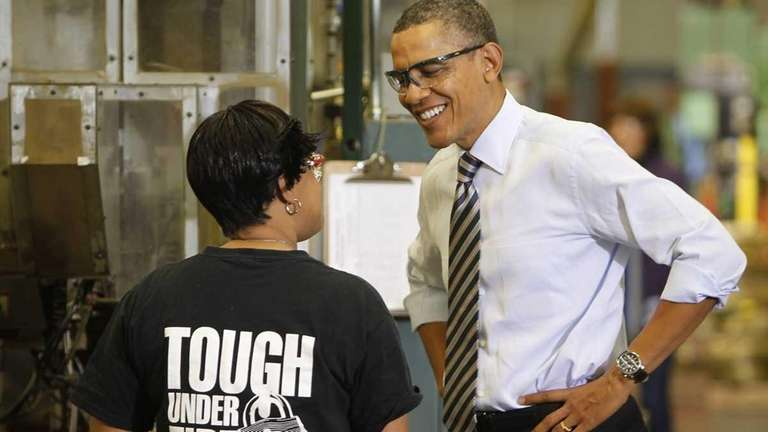 President Barack Obama tours Master Lock company in