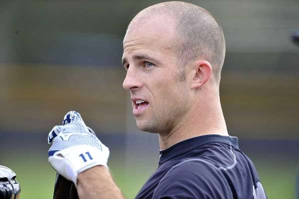 Yankees' outfielder Brett Gardner looks on during batting