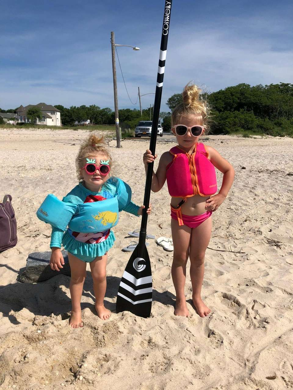 Madelyn and Abigail Sanders getting ready to paddle
