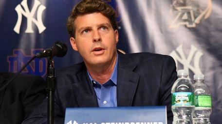 Hal Steinbrenner addresses the media before the Notre