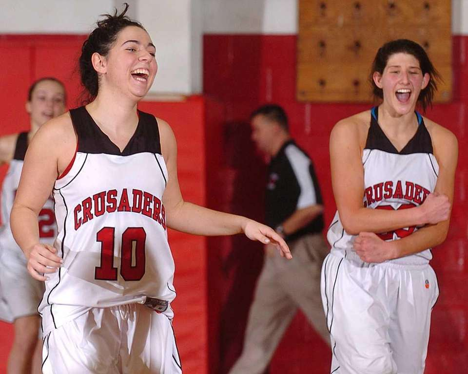Long Island Lutheran seniors Christina Raiti, left, and