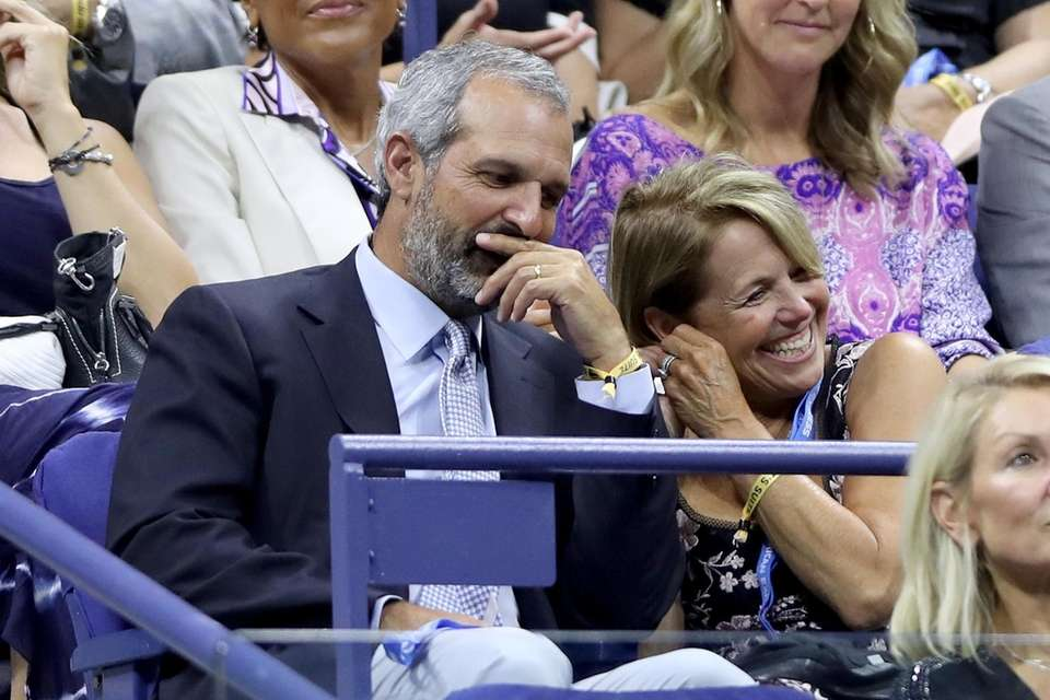 John Molner and Katie Couric watch the Serena