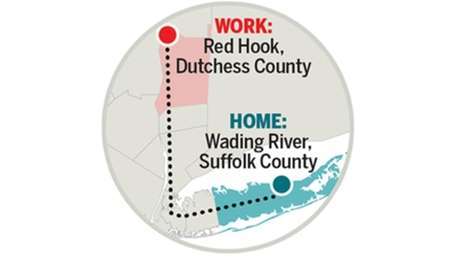Paul McElderry's commute from Wading River to Red