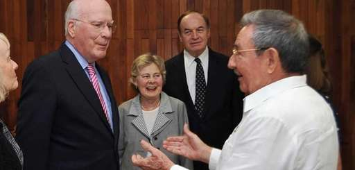 (L-R) U.S. Sen. Patrick Leahy, speaks with U.S.