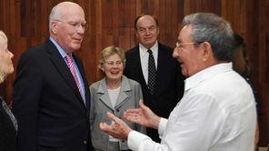 (L-R) U.S. Sen. Patrick Leahy, speaks with U.S.