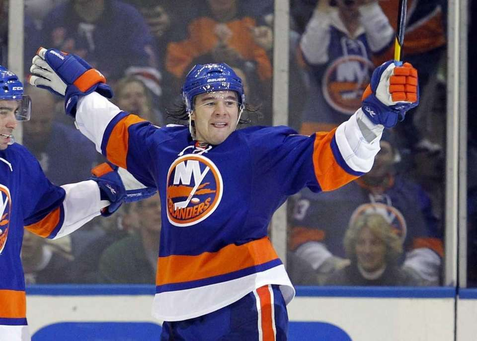 Islanders' P.A. Parenteau celebrates his second goal of