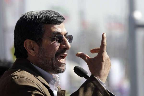 Iranian President Mahmoud Ahmadinejad speaks at a rally