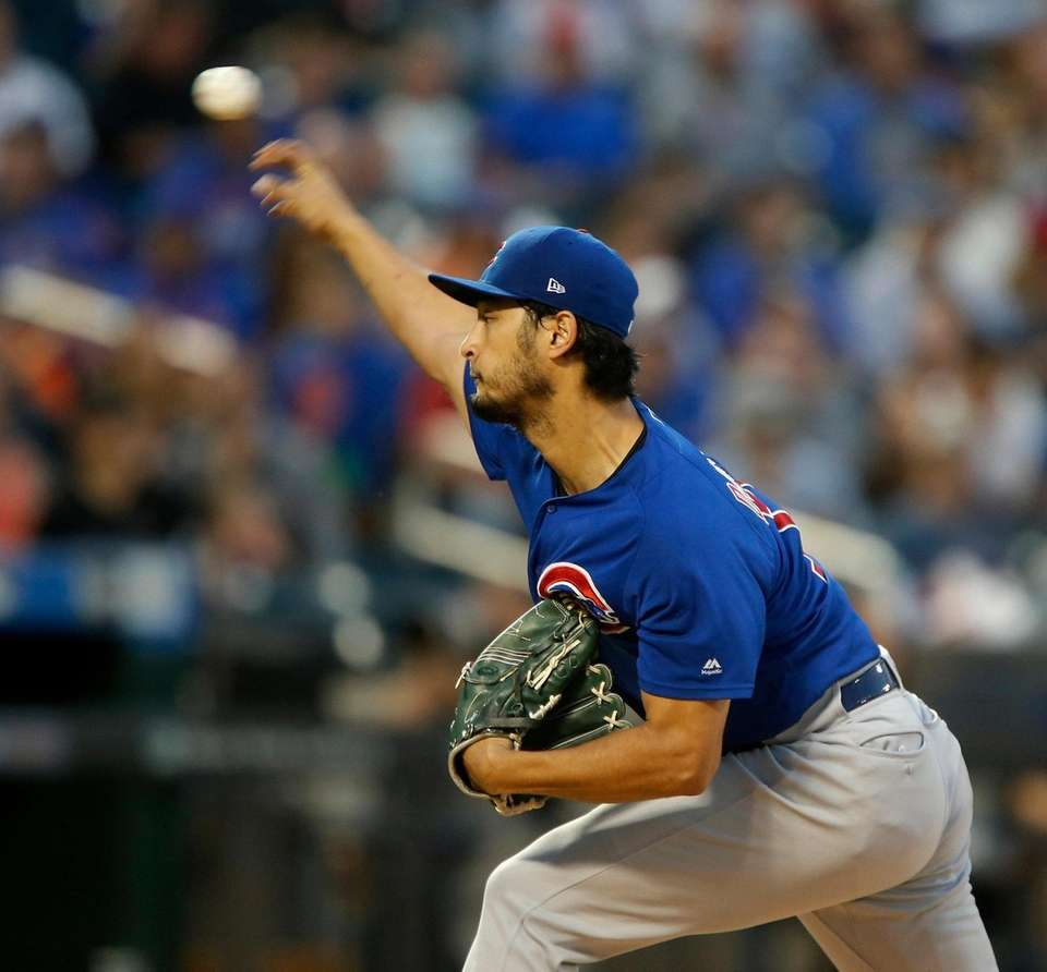 Yu Darvish #11 of the Chicago Cubs pitches