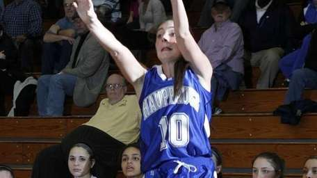 Hauppauge's Julie Williams hits a three-pointer late in
