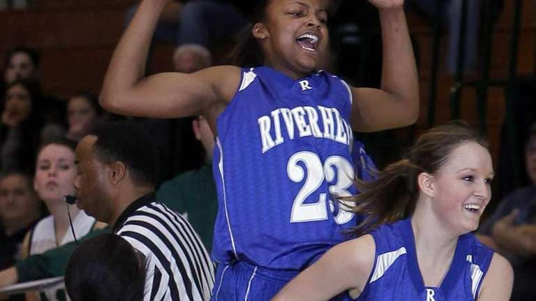 Riverhead's Shanice Allen, No. 23, celebrates after making