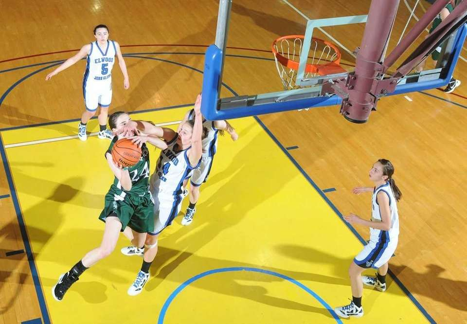 Harborfields' Bridgit Ryan (24) attempts a layup that
