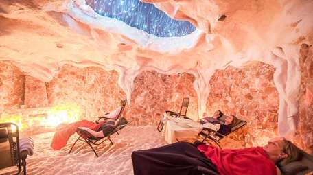 For relaxation, customers at the Montauk Salt Cave