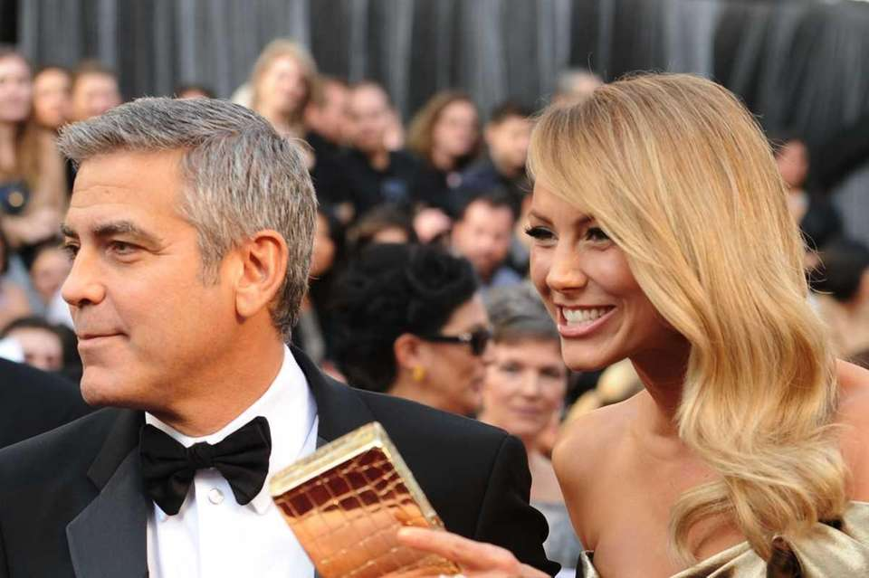 Actor George Clooney and Stacy Kiebler arrive at
