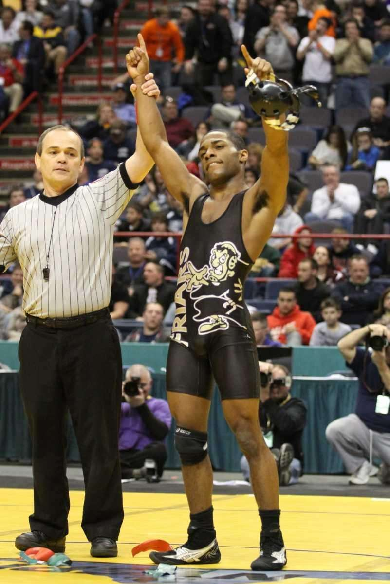 St. Anthony's Jamel Hudson celebrates his win over