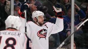 Rick Nash of the Columbus Blue Jackets celebrates