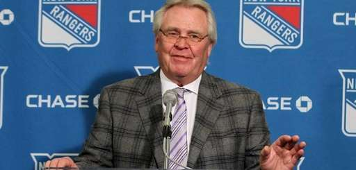 Rangers general manager Glen Sather addresses the media