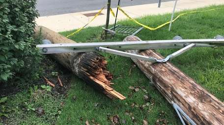 Lightning downed trees and power lines and destroyed