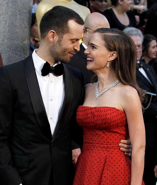 Benjamin Millepied, left, and Natalie Portman arrive before