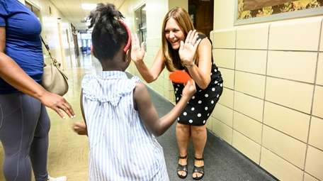 Shari Camhi, superintendent of Baldwin schools, welcomes 4-year-old