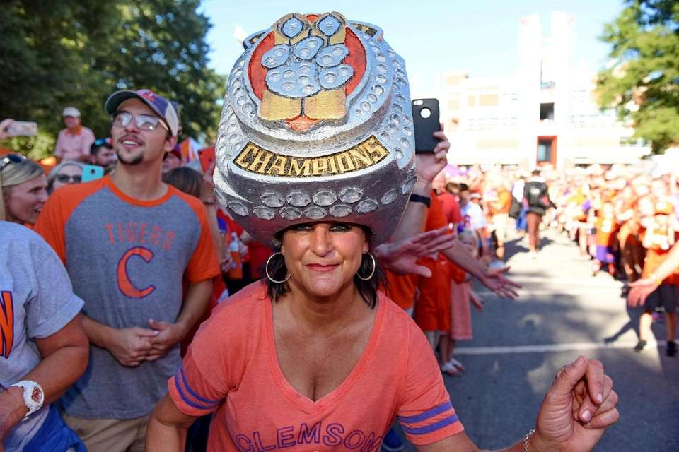 Clemson fan Theresa Gardner shows her support wearing