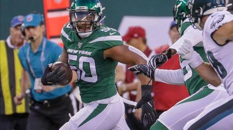 New York Jets linebacker Frankie Luvu #50 picks