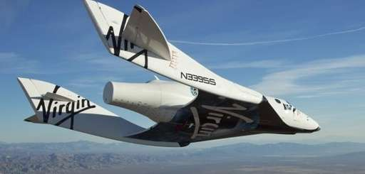 The Virgin Galactic SpaceShipTwo, or VSS Enterprise, glides