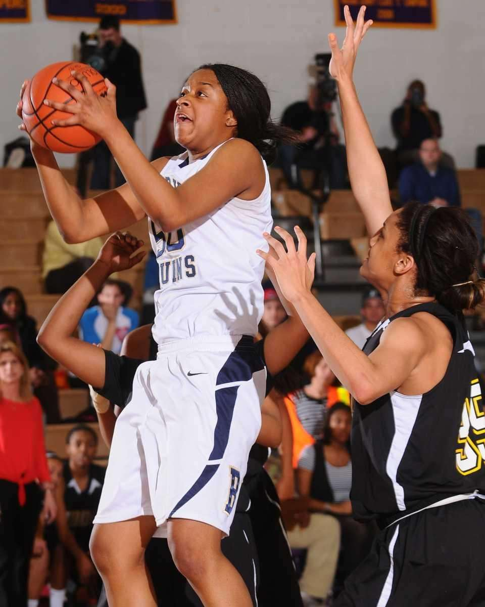 Baldwin's Chelsea May, left, grabs a rebound in