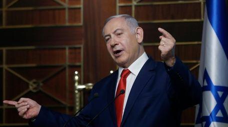 Israeli Prime Minister Benjamin Netanyahu delivers a speech