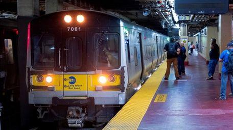 A Long Island Rail Road train pulls up