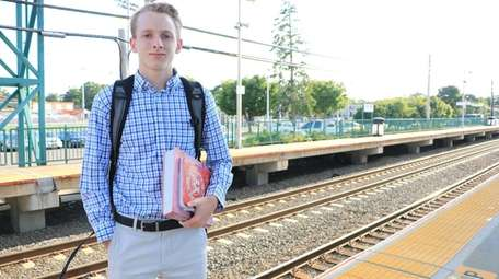 Dylan O'Donoghue, 17, waits at the Sayville LIRR