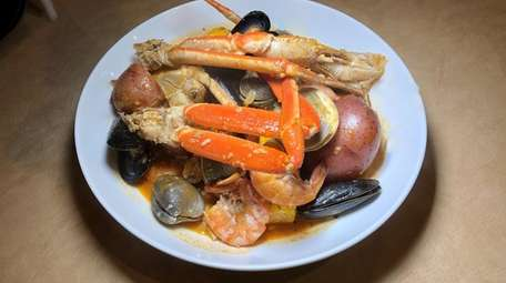 Seafood boiled in a seasoned broth is the