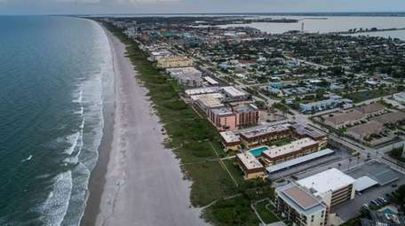 A drone's-eye view of the shoreline at Cocoa