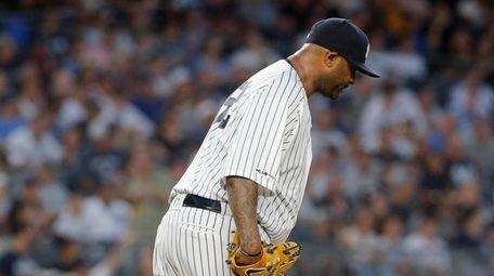 CC Sabathia #52 of the Yankees looks on