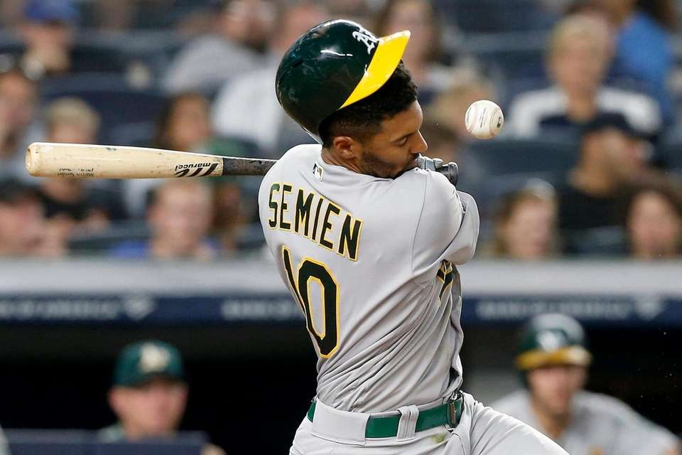 Marcus Semien #10 of the Oakland Athletics is