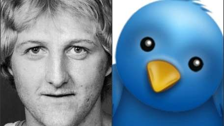 Larry Bird, left, and the Twitter logo