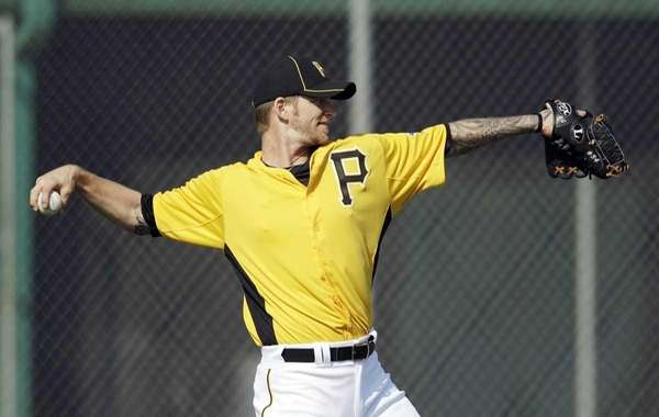 Pittsburgh Pirates' A.J. Burnett throws during practice at