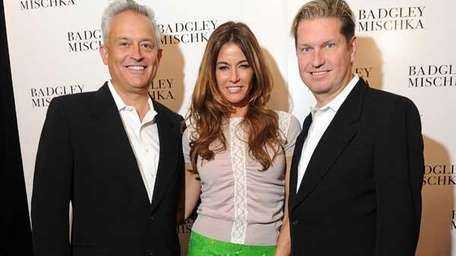 Kelly Bensimon poses with James Mischka and Badgley