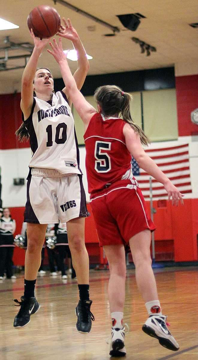 North Shore's Amanda Johansen shoots over Floral Park's