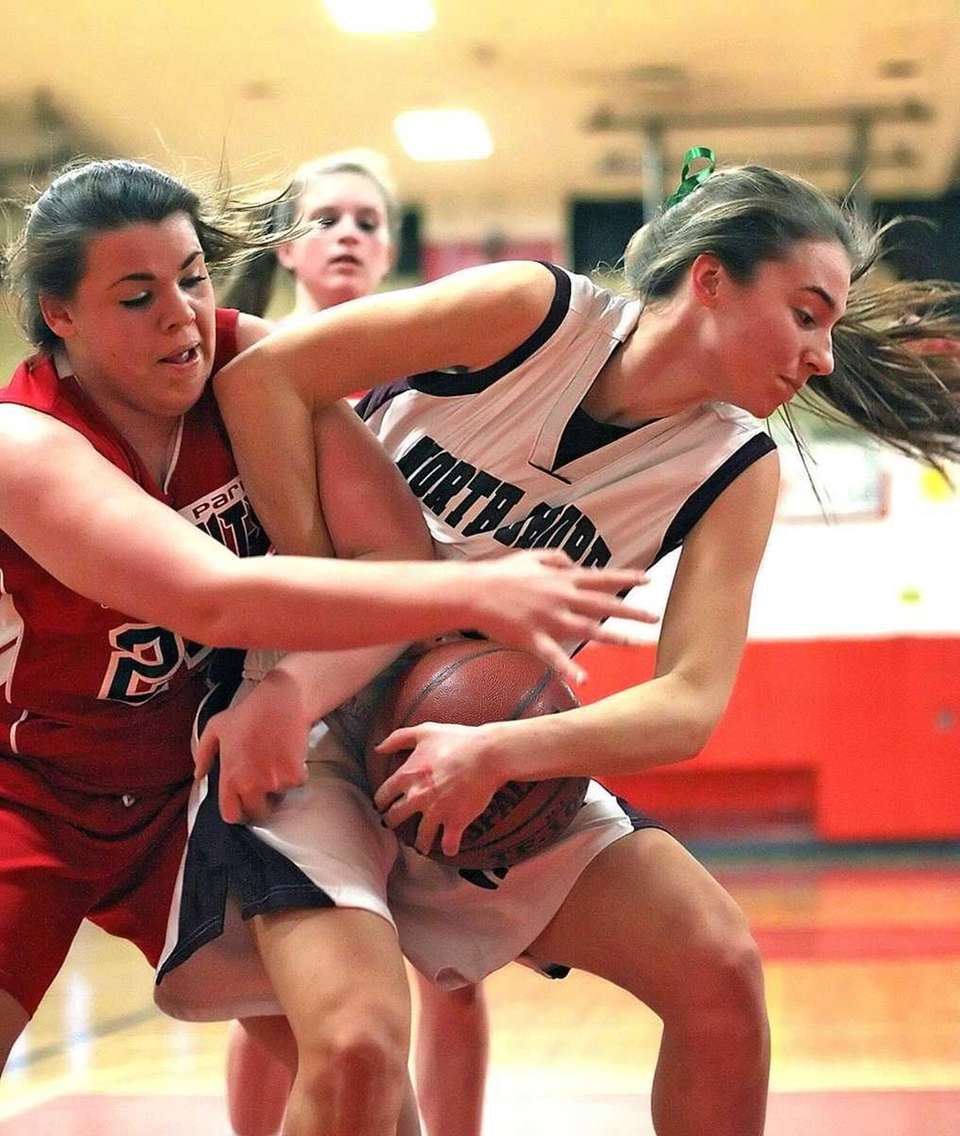 Floral Park's Emily Keenan works for the ball