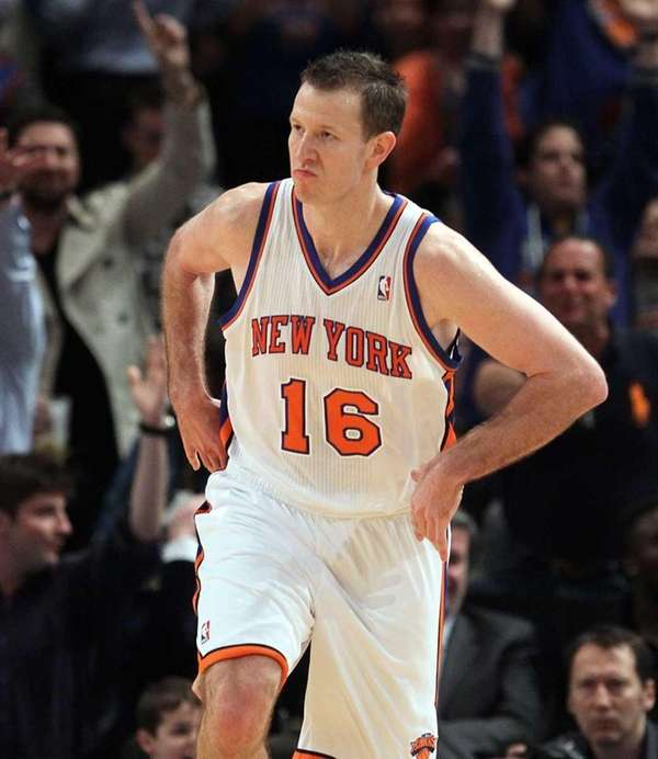 Steve Novak of the New York Knicks celebrates