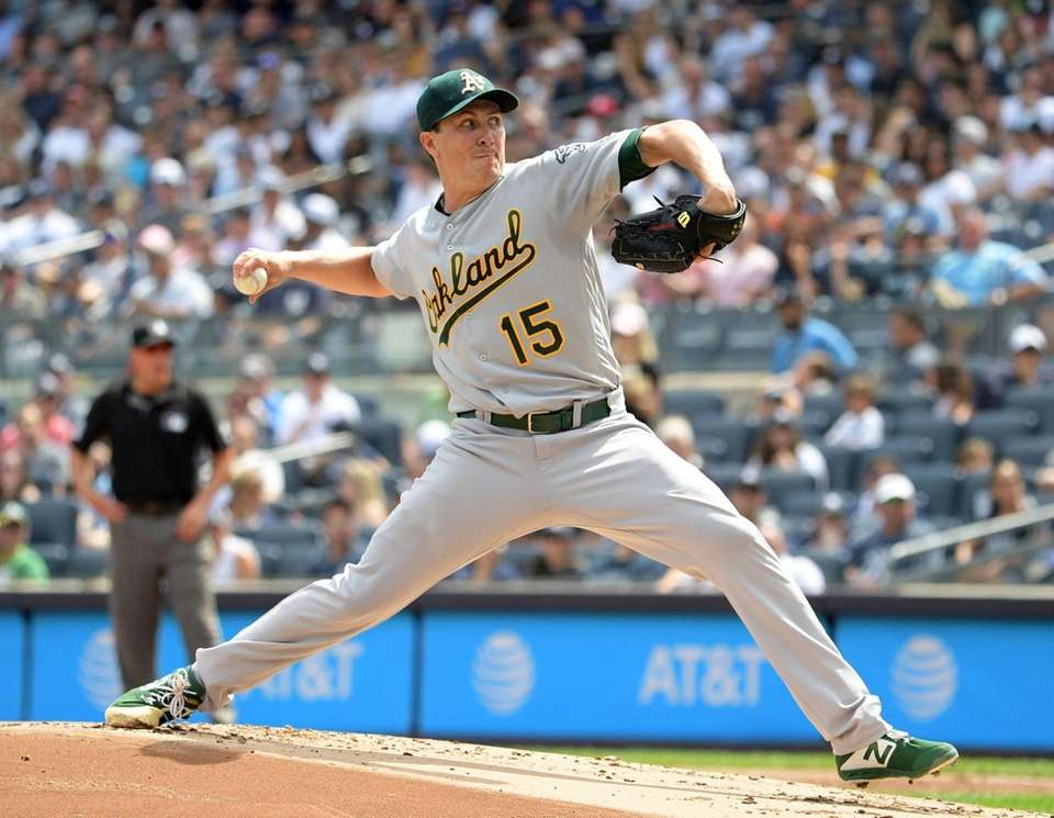 Homer Bailey pitcher for the Athletics pitching against