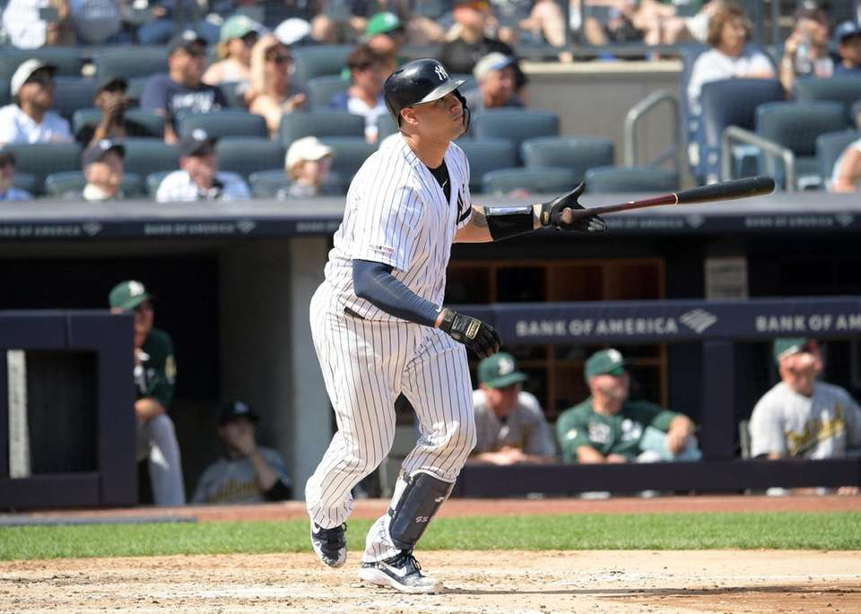 Gary Sanchez of the Yankees watches the ball