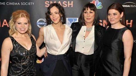 L to R: Megan Hilty, Katharine McPhee, Anjelica