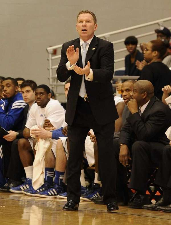 Hofstra head coach Mo Cassara reacts to game