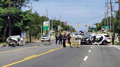 Suffolk County police investigate scene of a motor