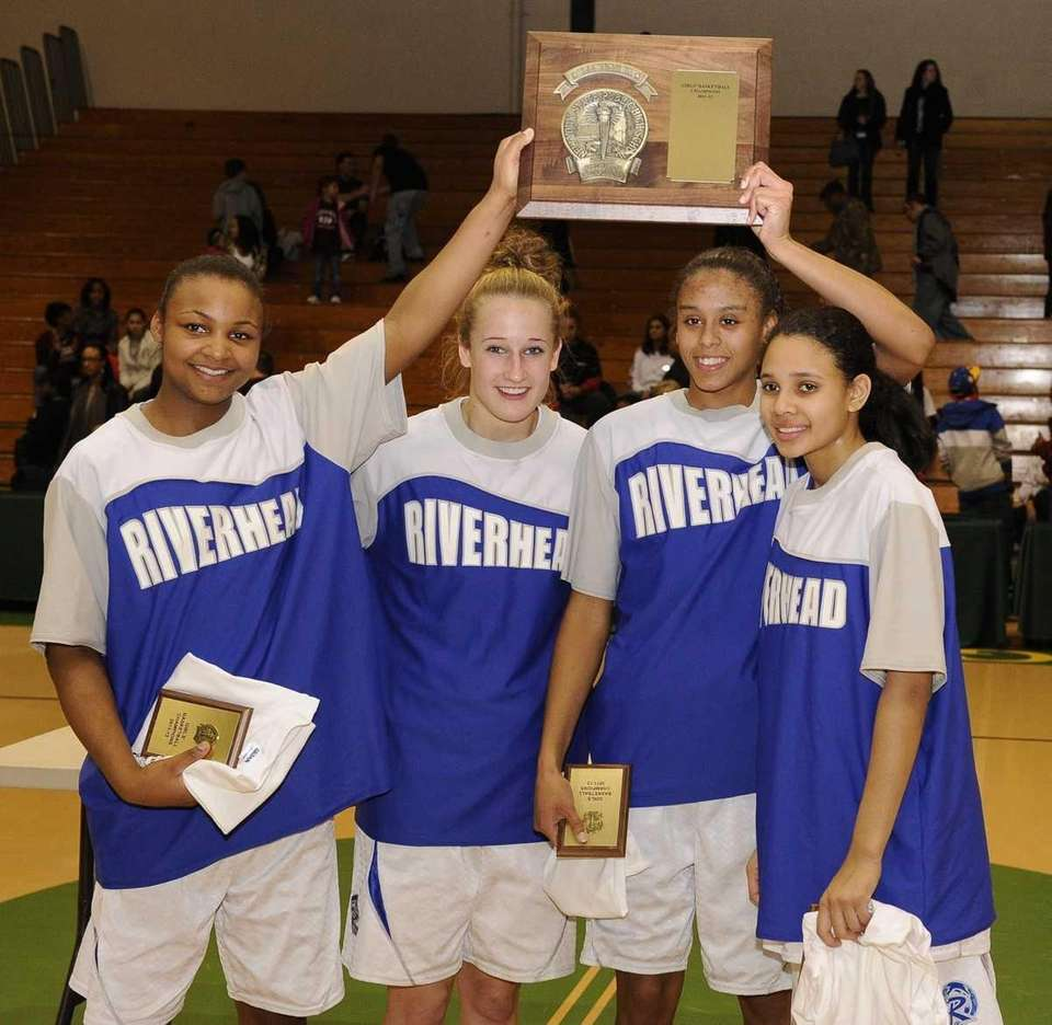 Riverhead captains, from left, Shanice Allen, Marta Czaplak,
