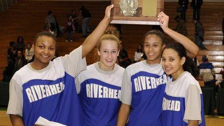 Riverhead captains, from left, Shanice Allen, Marta Czaplak,